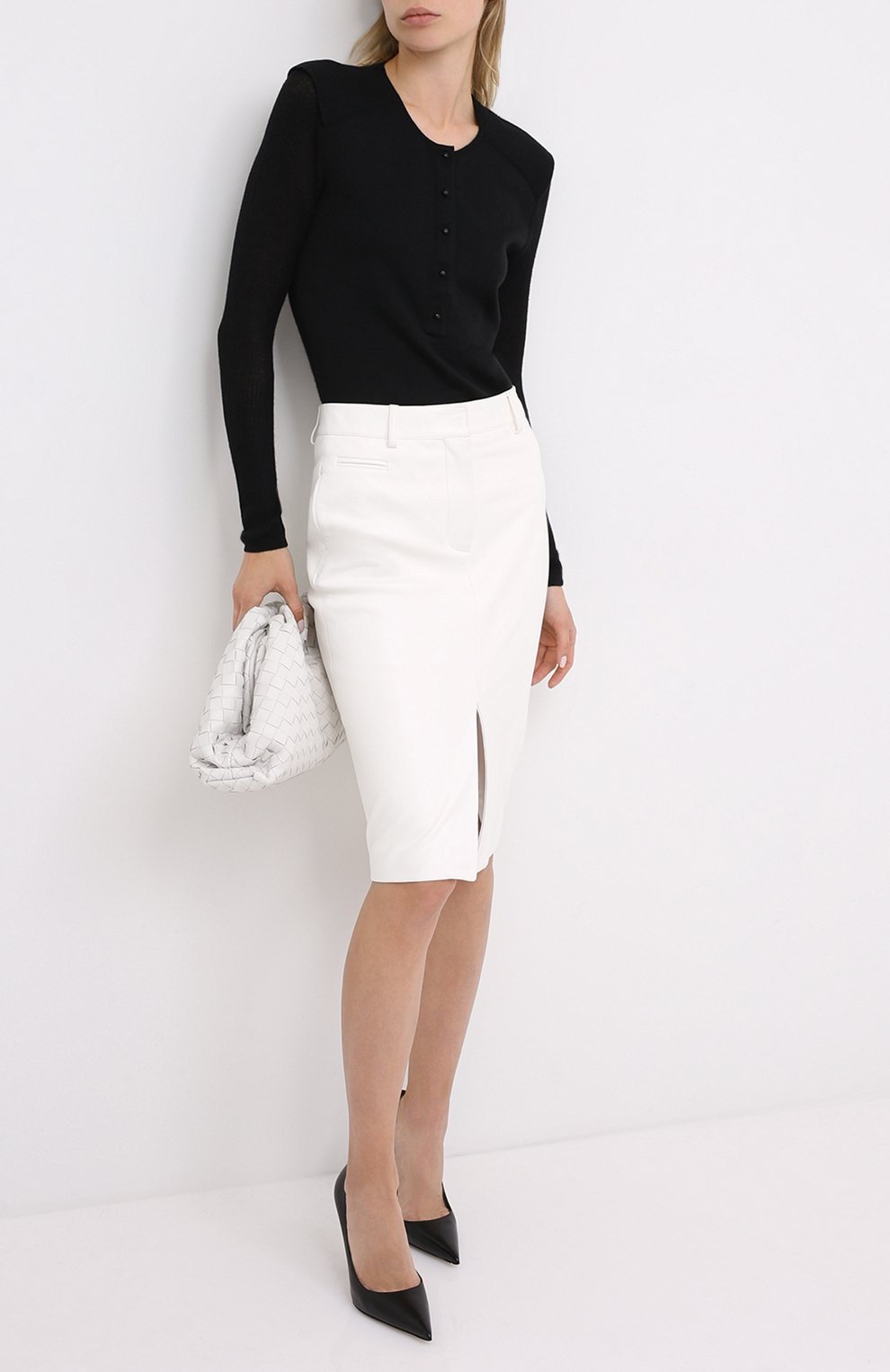 Женская кожаная юбка TOM FORD белого цвета, арт. GCL804-LEX228   Фото 2