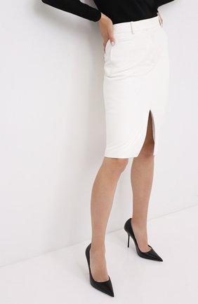Женская кожаная юбка TOM FORD белого цвета, арт. GCL804-LEX228   Фото 3
