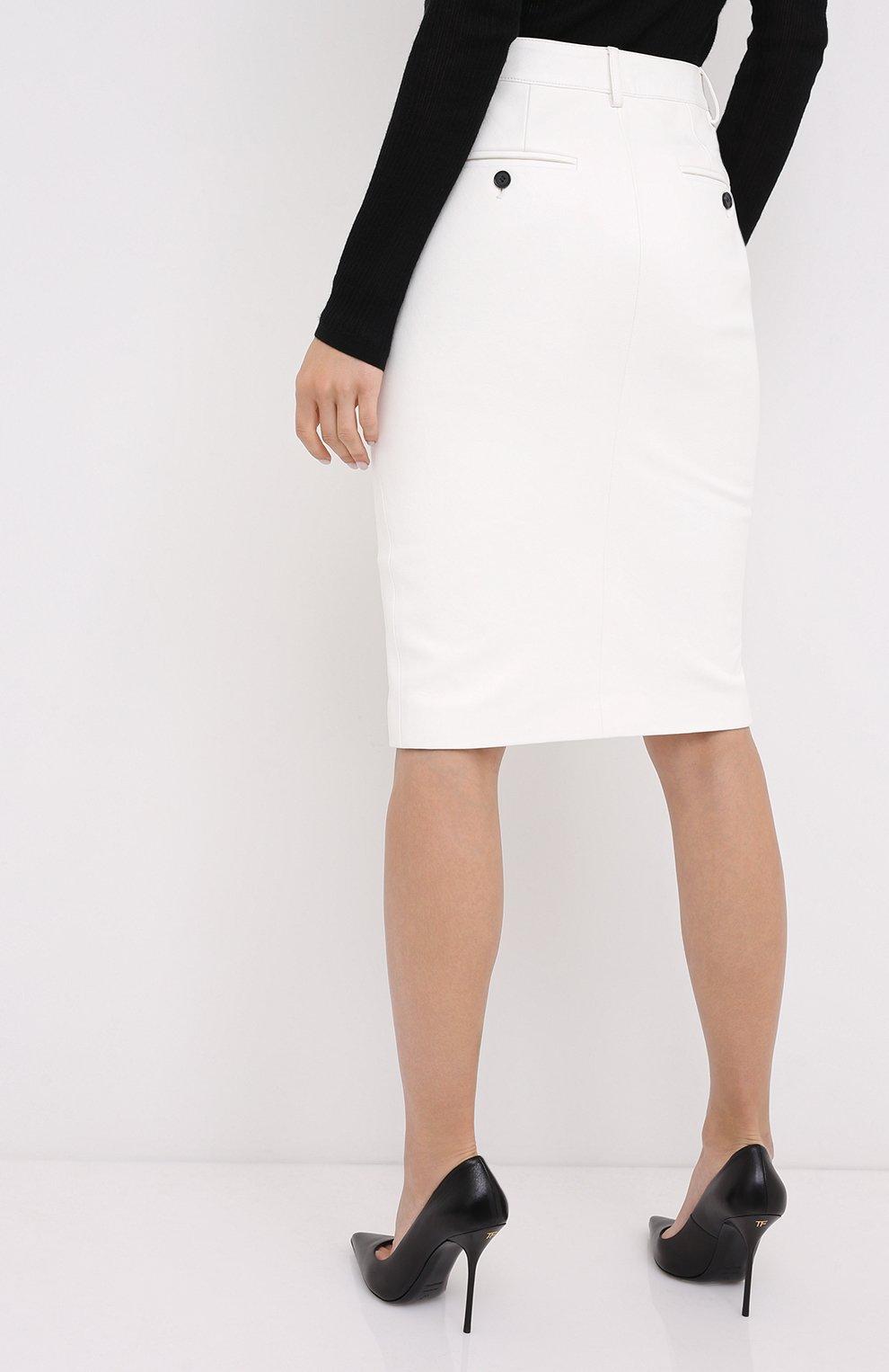 Женская кожаная юбка TOM FORD белого цвета, арт. GCL804-LEX228   Фото 4