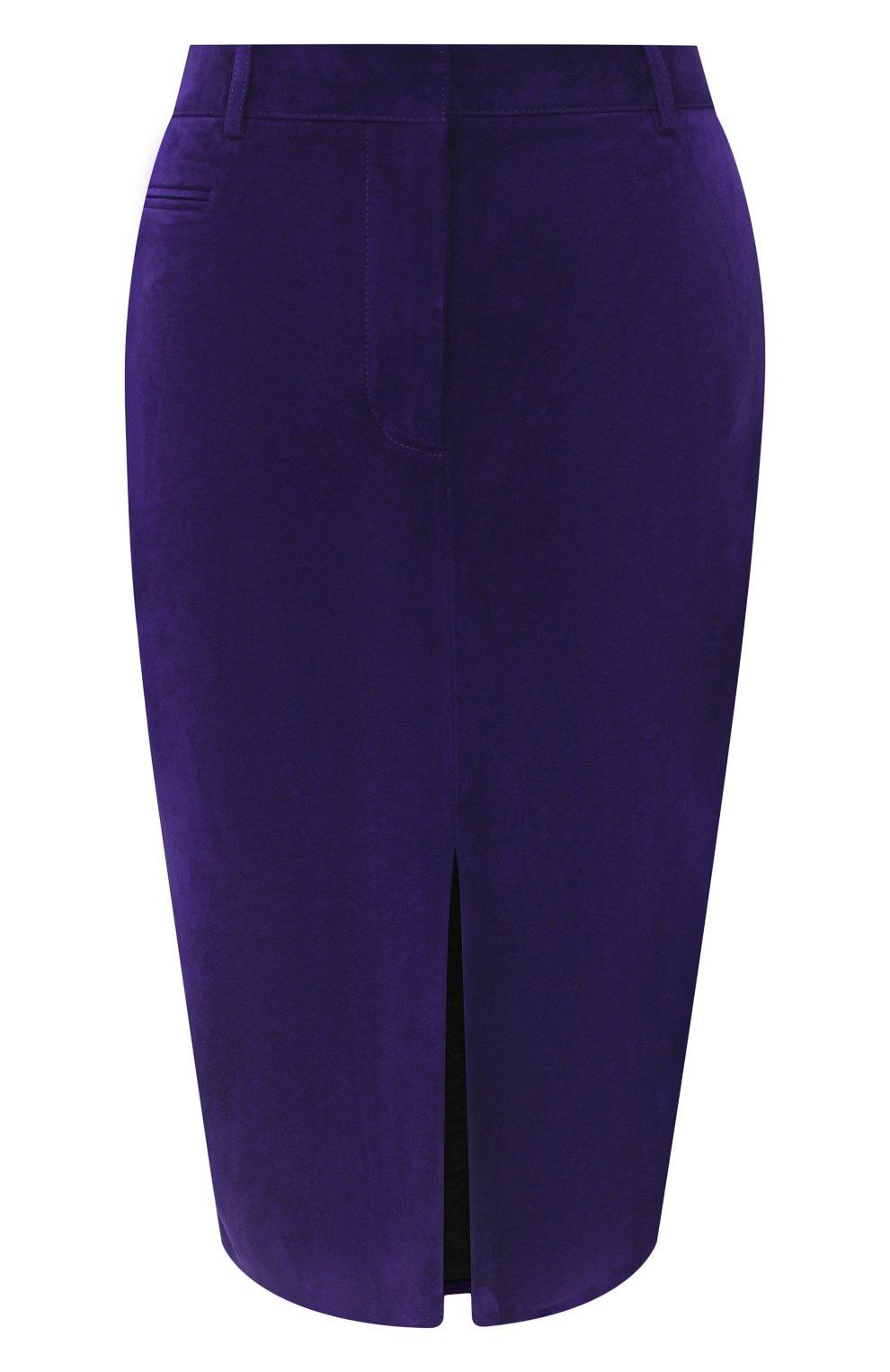 Женская замшевая юбка TOM FORD фиолетового цвета, арт. GCL804-LEX226   Фото 1
