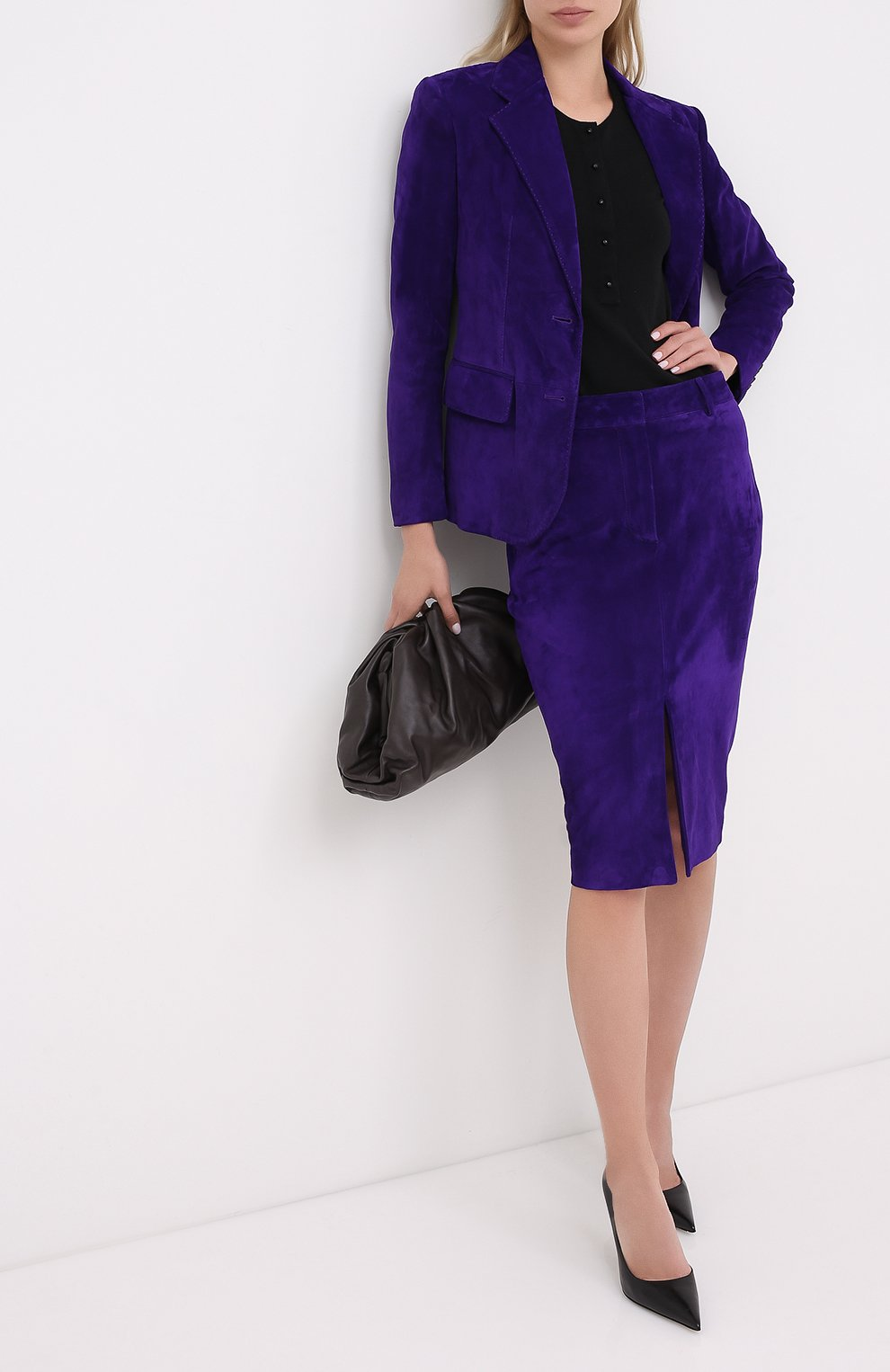 Женская замшевая юбка TOM FORD фиолетового цвета, арт. GCL804-LEX226   Фото 2