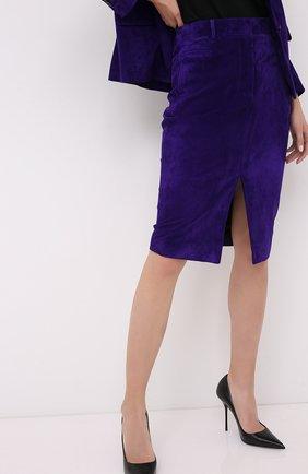 Женская замшевая юбка TOM FORD фиолетового цвета, арт. GCL804-LEX226   Фото 3