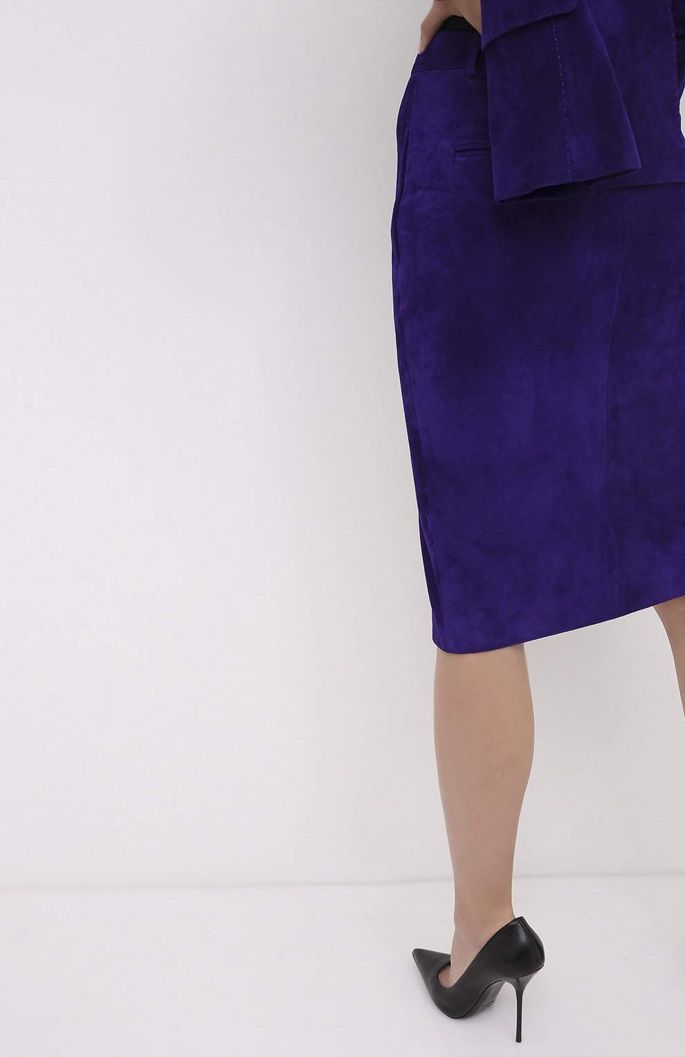 Женская замшевая юбка TOM FORD фиолетового цвета, арт. GCL804-LEX226   Фото 4