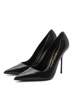 Женская кожаные туфли TOM FORD черного цвета, арт. W2524T-LSP002 | Фото 1