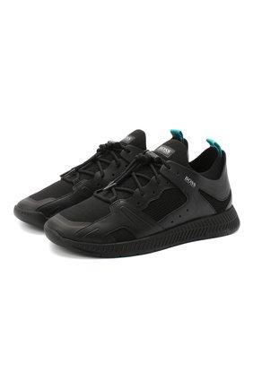 Мужские комбинированные кроссовки BOSS черного цвета, арт. 50432770 | Фото 1