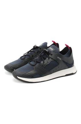 Мужские комбинированные кроссовки BOSS синего цвета, арт. 50432770 | Фото 1