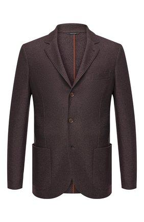 Мужской пиджак из смеси шелка и кашемира LORO PIANA темно-коричневого цвета, арт. FAI2572 | Фото 1