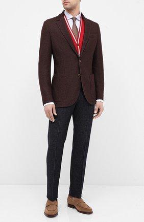 Мужской пиджак из смеси шелка и кашемира LORO PIANA темно-коричневого цвета, арт. FAI2572 | Фото 2
