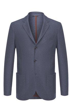 Мужской пиджак из смеси шелка и кашемира LORO PIANA синего цвета, арт. FAI2572 | Фото 1