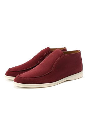 Мужские замшевые ботинки open walk LORO PIANA бордового цвета, арт. FAB4368 | Фото 1