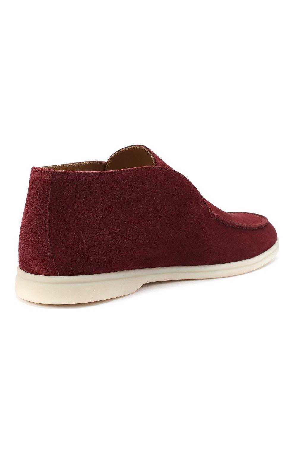 Мужские замшевые ботинки open walk LORO PIANA бордового цвета, арт. FAB4368 | Фото 4
