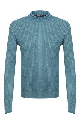 Мужской свитер из шелка и кашемира LORO PIANA бирюзового цвета, арт. FAL2094 | Фото 1