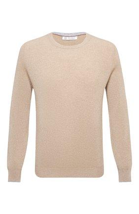 Мужской кашемировый свитер BRUNELLO CUCINELLI бежевого цвета, арт. M2229510 | Фото 1