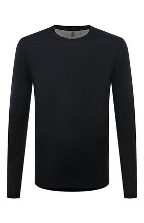Мужская лонгслив из шелка и хлопка BRUNELLO CUCINELLI темно-синего цвета, арт. MTS377407 | Фото 1