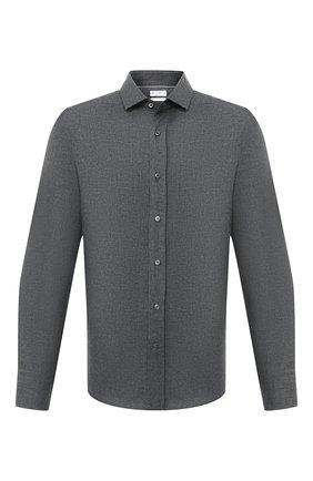 Мужская хлопковая рубашка BRUNELLO CUCINELLI темно-серого цвета, арт. ML6913029 | Фото 1