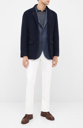 Мужская хлопковая рубашка BRUNELLO CUCINELLI темно-серого цвета, арт. ML6913029 | Фото 2