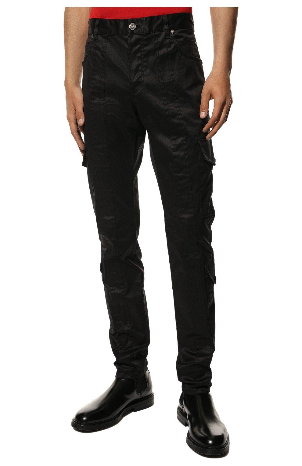 Мужские хлопковые брюки-карго BALMAIN черного цвета, арт. UH15377/Z043 | Фото 3 (Силуэт М (брюки): Карго; Длина (брюки, джинсы): Стандартные; Случай: Повседневный; Стили: Панк; Материал внешний: Хлопок)