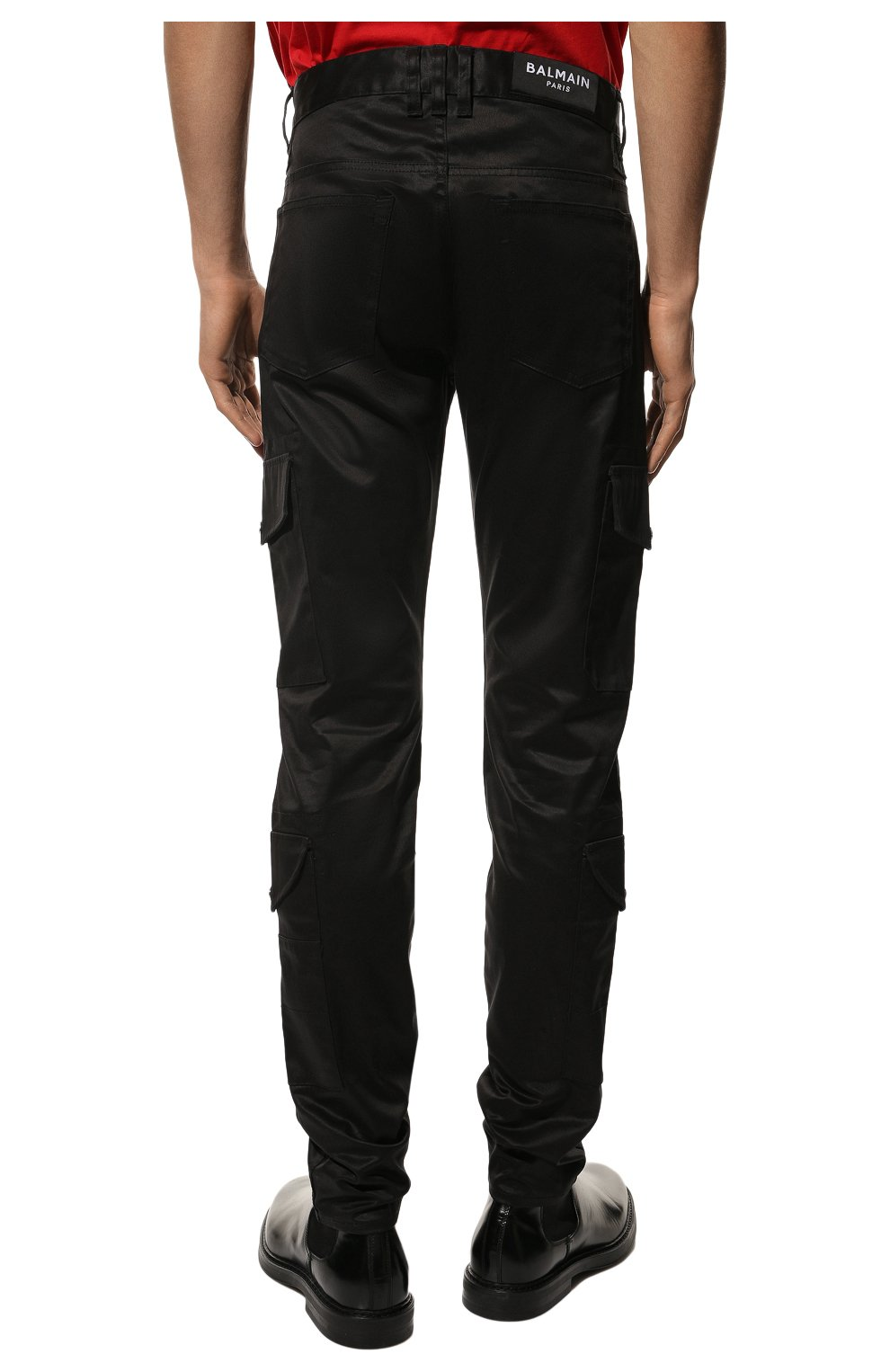 Мужские хлопковые брюки-карго BALMAIN черного цвета, арт. UH15377/Z043 | Фото 4 (Силуэт М (брюки): Карго; Длина (брюки, джинсы): Стандартные; Случай: Повседневный; Стили: Панк; Материал внешний: Хлопок)
