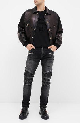 Мужские джинсы BALMAIN черного цвета, арт. UH15419/Z036 | Фото 2