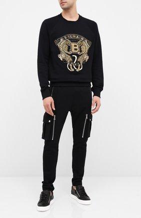 Мужской хлопковые брюки-карго BALMAIN черного цвета, арт. UH15761/I368 | Фото 2