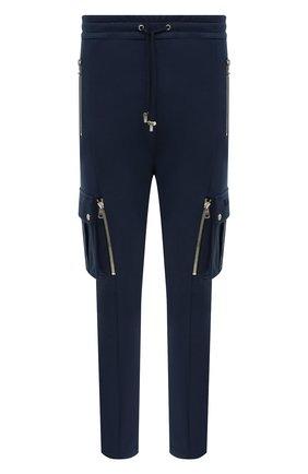 Мужской хлопковые брюки-карго BALMAIN темно-синего цвета, арт. UH15761/I368 | Фото 1