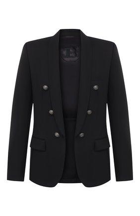 Мужской шерстяной пиджак BALMAIN черного цвета, арт. UH17139/W067 | Фото 1