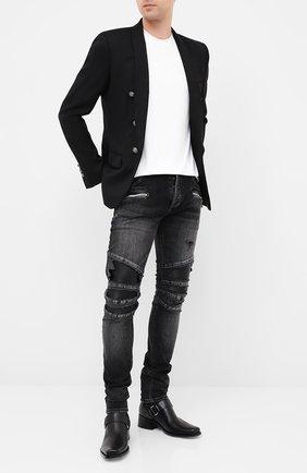 Мужской шерстяной пиджак BALMAIN черного цвета, арт. UH17139/W067 | Фото 2