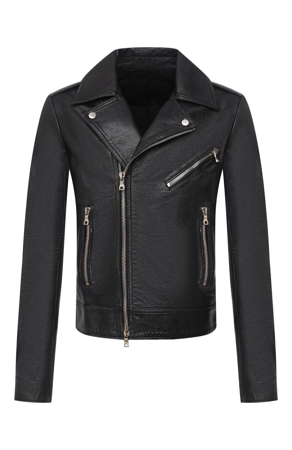 Мужская кожаная куртка BALMAIN черного цвета, арт. UH18137/Z307   Фото 1 (Кросс-КТ: Куртка; Рукава: Длинные; Мужское Кросс-КТ: Верхняя одежда, Кожа и замша; Длина (верхняя одежда): Короткие; Материал подклада: Хлопок)