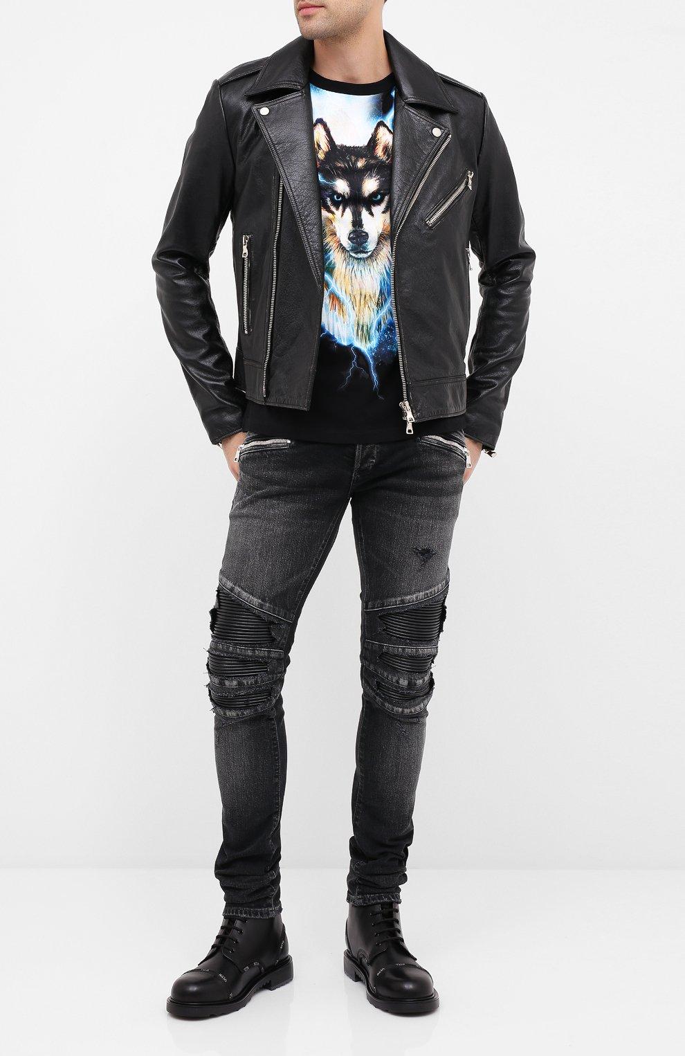 Мужская кожаная куртка BALMAIN черного цвета, арт. UH18137/Z307   Фото 2 (Кросс-КТ: Куртка; Рукава: Длинные; Мужское Кросс-КТ: Верхняя одежда, Кожа и замша; Длина (верхняя одежда): Короткие; Материал подклада: Хлопок)