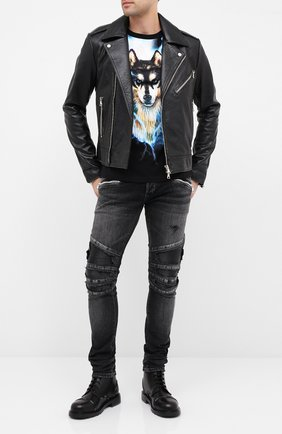 Мужская кожаная куртка BALMAIN черного цвета, арт. UH18137/Z307 | Фото 2
