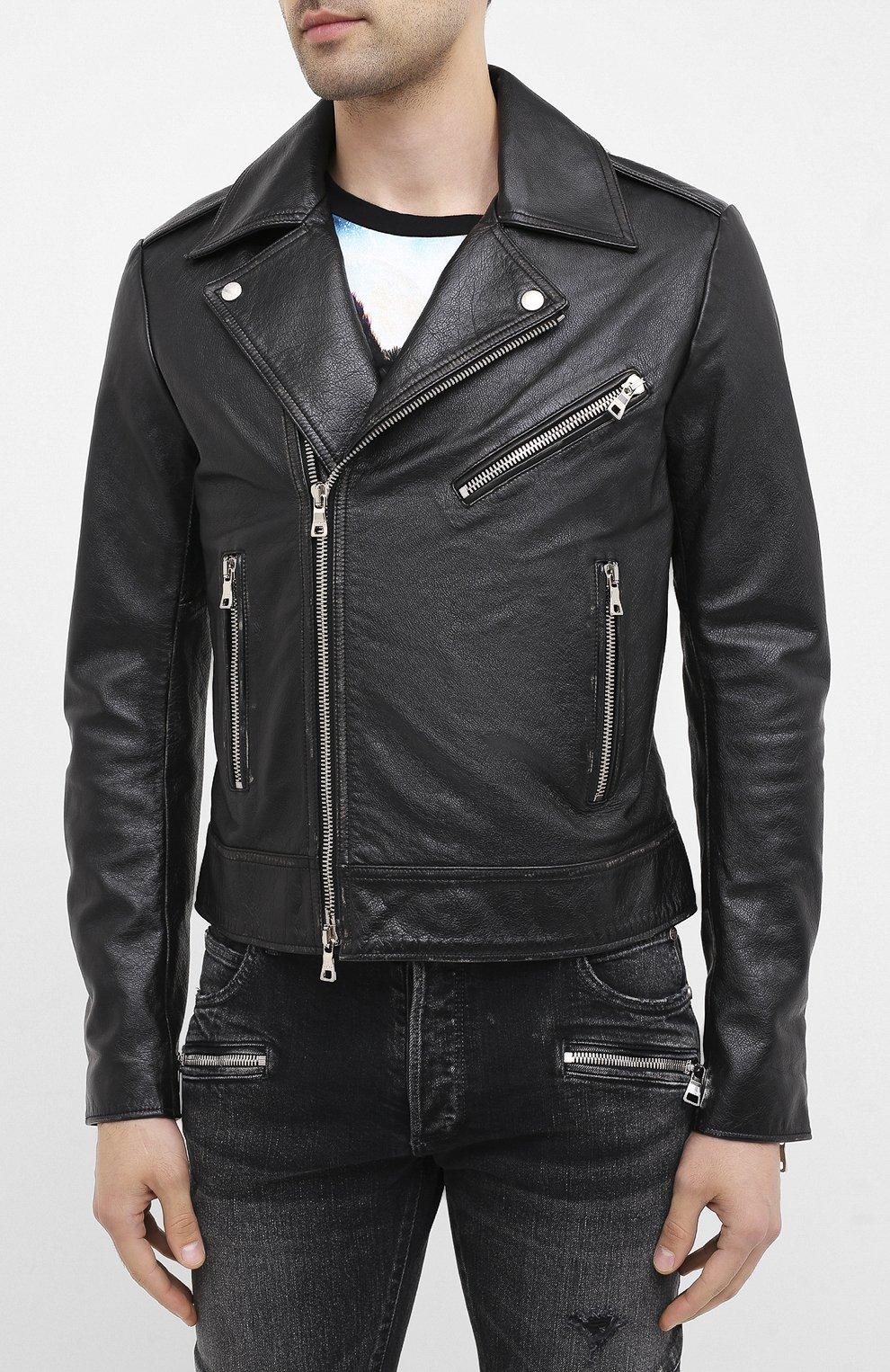 Мужская кожаная куртка BALMAIN черного цвета, арт. UH18137/Z307   Фото 3 (Кросс-КТ: Куртка; Рукава: Длинные; Мужское Кросс-КТ: Верхняя одежда, Кожа и замша; Длина (верхняя одежда): Короткие; Материал подклада: Хлопок)