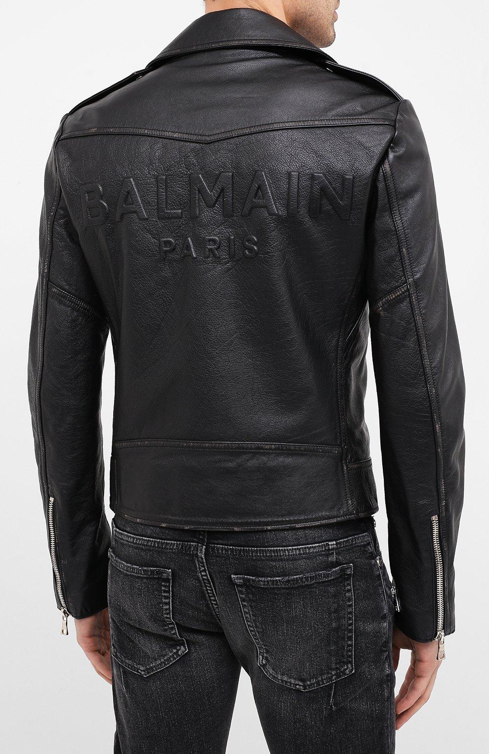 Мужская кожаная куртка BALMAIN черного цвета, арт. UH18137/Z307   Фото 4 (Кросс-КТ: Куртка; Рукава: Длинные; Мужское Кросс-КТ: Верхняя одежда, Кожа и замша; Длина (верхняя одежда): Короткие; Материал подклада: Хлопок)