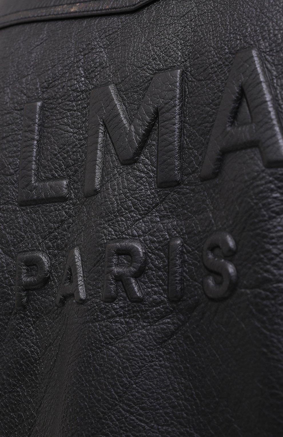 Мужская кожаная куртка BALMAIN черного цвета, арт. UH18137/Z307   Фото 5 (Кросс-КТ: Куртка; Рукава: Длинные; Мужское Кросс-КТ: Верхняя одежда, Кожа и замша; Длина (верхняя одежда): Короткие; Материал подклада: Хлопок)