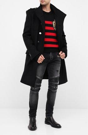 Мужской шерстяное пальто BALMAIN черного цвета, арт. UH18419/W076 | Фото 2
