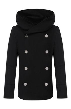 Мужской шерстяное пальто BALMAIN черного цвета, арт. UH18420/W065 | Фото 1
