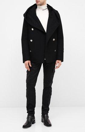 Мужской шерстяное пальто BALMAIN черного цвета, арт. UH18420/W065 | Фото 2