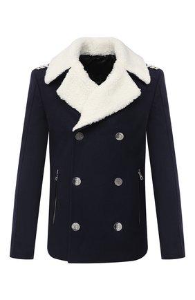 Мужской шерстяное пальто BALMAIN темно-синего цвета, арт. UH18825/W072 | Фото 1