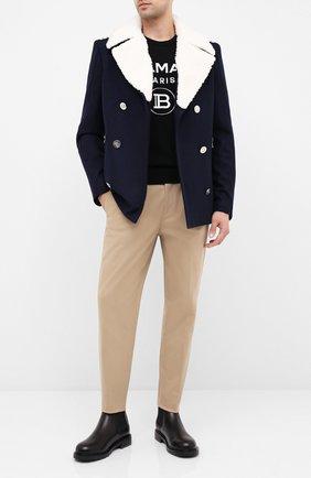 Мужской шерстяное пальто BALMAIN темно-синего цвета, арт. UH18825/W072 | Фото 2