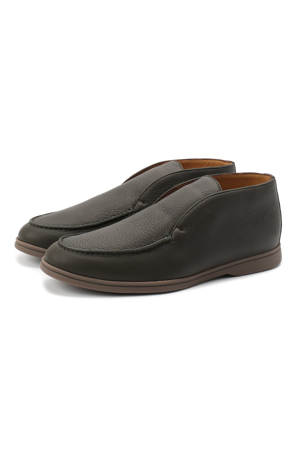 Мужские кожаные ботинки open walk LORO PIANA зеленого цвета, арт. FAI3349   Фото 1