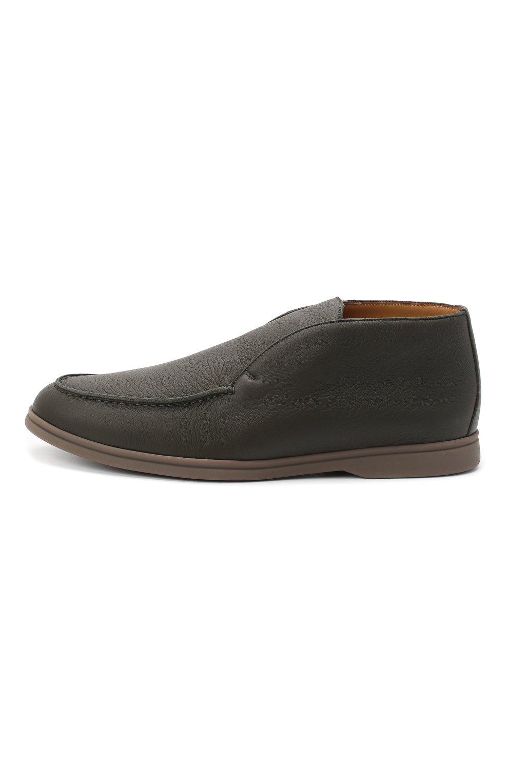 Мужские кожаные ботинки open walk LORO PIANA зеленого цвета, арт. FAI3349   Фото 3