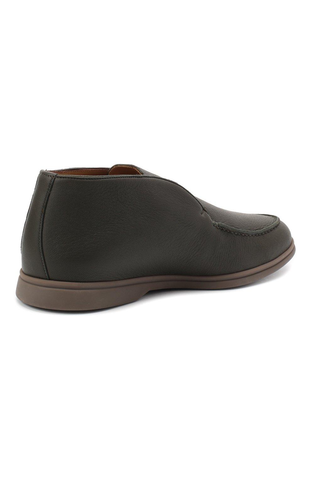 Мужские кожаные ботинки open walk LORO PIANA зеленого цвета, арт. FAI3349   Фото 4