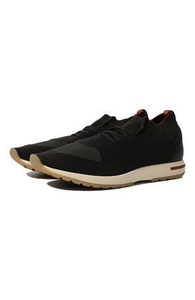 Мужские текстильные кроссовки 360 lp walk LORO PIANA темно-серого цвета, арт. FAL2921 | Фото 1