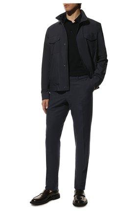 Мужской хлопковые брюки LORO PIANA темно-синего цвета, арт. FAF4206 | Фото 2