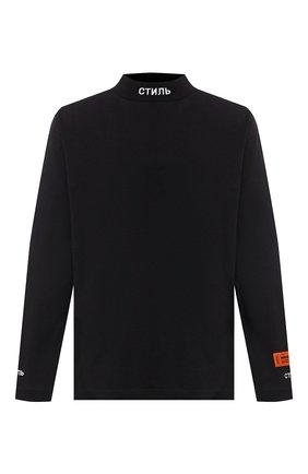 Мужская хлопковый лонгслив HERON PRESTON черного цвета, арт. HMAB017F20JER0011001 | Фото 1