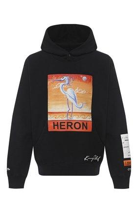 Мужской хлопковое худи HERON PRESTON черного цвета, арт. HMBB010F20JER0091020 | Фото 1