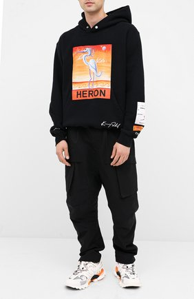 Мужской хлопковое худи HERON PRESTON черного цвета, арт. HMBB010F20JER0091020 | Фото 2