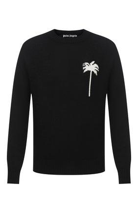 Мужской шерстяной свитер PALM ANGELS черного цвета, арт. PMHE013E20KNI0011001 | Фото 1