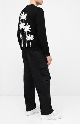 Мужской шерстяной свитер PALM ANGELS черного цвета, арт. PMHE013E20KNI0011001 | Фото 2
