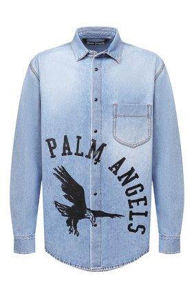 Мужская джинсовая рубашка PALM ANGELS синего цвета, арт. PMYD008E20DEN0014010 | Фото 1