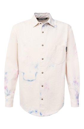Мужская хлопковая рубашка PALM ANGELS бежевого цвета, арт. PMYD009E20DEN0010184   Фото 1